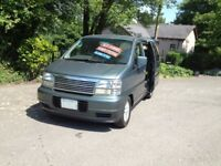 NISSAN ELGRAND DAY CAMPER SURF BUS/BRAND NEW REAR SIDE KITCHEN CONVERSION/MAINS HOOK UP/mazda bongo