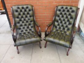 A Pair Of Green Leather Chesterfield Slipper Chairs