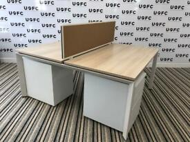 Steelcase Frameone Bench desk in Limed oak and White