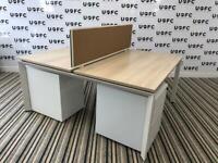 Steelcase Frameone Bench desk in Limed oak and White