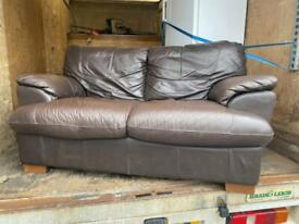 NICE VERY COMFY REAL LEATHER 2 SEAT SOFA SOFT