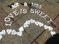 Wedding Bundle Sweet Table Sign, Wooden Just Married Dove Garland & Wooden MR & MRS Letters