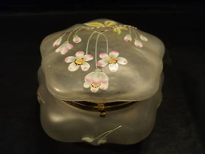 ANTIQUE FROSTED GLASS DRESSER BOX W/ ENAMELED FLORALS