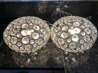 Pair of beautiful John Lewis Phoebe Crystal Orb table lamps