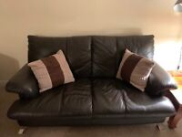 3 seater brown leather couch and leather table