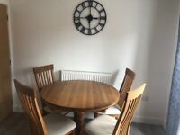 Solid Wood Round Extendable Dining Table with 6 Chairs