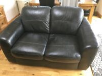 Harveys Black Leather 2 seater Sofa