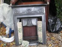 art nouveau reproduction cast iron fireplace complete with side tiles and grate bargain £150