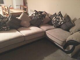 Beige and black sofa
