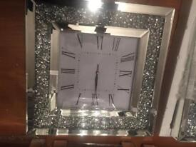 Large Diamonte mirrored clock with led light