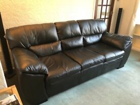 Immaculate Real Leather Black 3 Seater Sofa from DFS