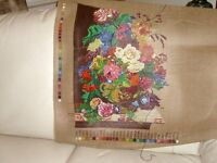 Printed canvas of flowers for wool tapestry, uses 30 different coloured wools - not supplied