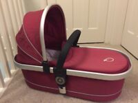 For sale - Icandy peach Cranberry carrycot, seat, rain-cover and maxi cosi car seat adaptors.