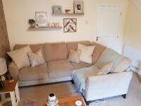 Mink colour fabric corner sofa