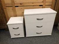 White chest of drawers and bedside