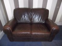 Brown Faux Leather Sofa 2-Seater