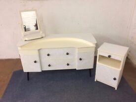 a lovely bedroom set including dresser, bedside cabinet and adjustable mirror