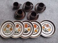 1960's Langley pottery dinner plates and tea cups