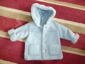 Marks and Spencer furry lined winter coat 6-12 months - baby blue