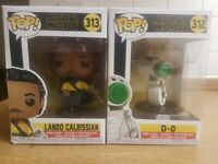 2 FUNKO POP STAR WARS D-0 & LANDO CALRISSIAN BRAND NEW, SEALED