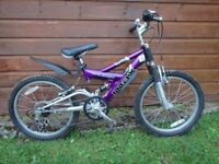 Raleigh Megamax FS bike suit age 7 to 9 years old, full suspension, 20 inch wheels, mud guards
