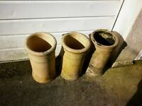 "3 reclaimed buff clay chimney pots/planters, 20.5"" high, 11"" outside diameter, 8"" inside diameter"