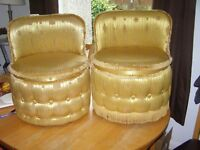 PAIR OF GOLD VINTAGE SHERBORNE ROUND LOW TUB CHAIRS
