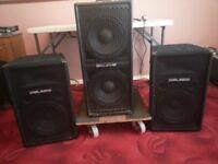 PA system. Set of 'Slammer' speakers suitable for DJ or Karaoke Jockey.