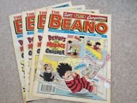Beano, 4 nice quality comics from 1994/95 collectable.