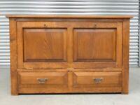 Vintage Dark Wood Cabinet with Drop Front Door