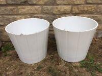 2 large indoor plant pots - white glaze
