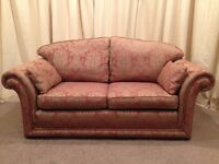 2 Seater Sofa - Luxurious Gold & Plum Pattern Fabric