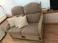 Rattan framed sofa for conservatory or garden room