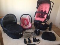 PINK QUINNY BUZZ 3 TRAVEL SYSTEM,PRAM,CARRYCOT,CAR SEAT + MORE