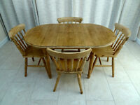 Antique pine table & 4 chairs