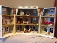 Dolls house Sylvanian and windmill