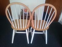 Two Ercol style dining chairs, great for shabby chic project