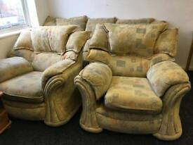 3 seater sofa and 2 armchairs can deliver