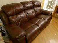3 and 2 seater brown leather reclining sofa's