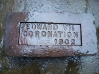 Reclaimed blue bricks. Edward 7 coronation 1902
