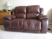 2 seater reclining leather sofa & 2 matching reclining armchairs