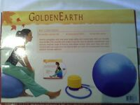 """Golden Earth"" Pilates Yoga Exercise Ball Kit and ""Everlast"" 5lb wrist/ankle weights, pair."