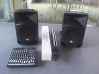 Mackie thump pa speaker system and mixer stands microphones job lot