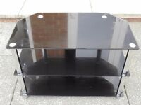 "TV STAND UNIT BLACK GLASS CHROME LEGS 3 TIER/SHELFS GOOD CONDITION 80L 53H 46W FOR UPTO 42"" LED TV"