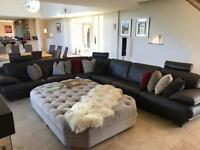 Natuzzi Italian corner brown leather sofa with foot stool from Barker and Stonehouse