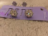 4 x crystal hair pins - new unused- great for weddings