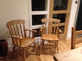 2 pine chairs for sale. £80 for the pair.