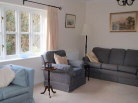 Immaculate patterned navy jacquard sofa and 2 arm chairs.