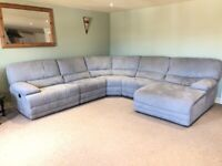 Harvey's kneller light grey recliner corner sofa with chaise