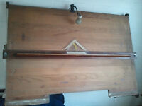 Wooden Drafting Table w/ Metal Wall Brakets